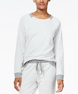 Alfani Women's Gray Pajama Quilted Style Top Size M