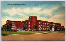 The High School Building in Billings, Montana Linen Postcard Unused