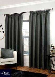 """Luxury Woven Basket Weave Thermal Blackout 3"""" Pencil Pleat Lined Pair Curtains"""