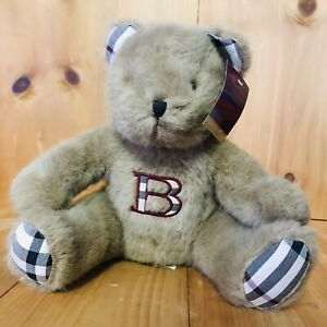 "BURBERRY: Beige ""Nova Check"" & ""B"" Logo Teddy Bear/Plush Toy SEWN EYES!! ((22))"
