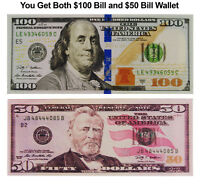 ONE HUNDRED $100 DOLLAR BILL AND $50 DOLLAR BILL WALLET BIFOLD ULTRA THIN CANVAS