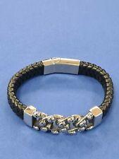 Edelstahl Lederband schwarz Modeschmuck Armband Totenkopf