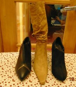 10 BOOTS HEELS WEDGE BEIGE GOLD BLACK ANKLE LONG SIZE 9 VEGAN