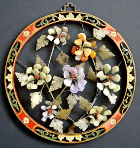 1800's Antique CHINESE Carved SEMI PRECIOUS STONE Wood Frame TREE WALL PLAQUE