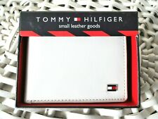 Men's Leather Wallet 'Tommy Hilfiger' Bifold, WHITE&RED,Coin Pouch, MRP $60,Sale