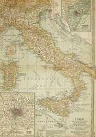 1903 Antik Landkarte Italien Sardinien Sizilien Venice ROM Toskana Umbria Emilia