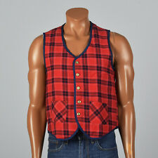 M 1970s Mens Deadstock Red Flannel Quilted Vest Separates Outerwear 70s Vtg