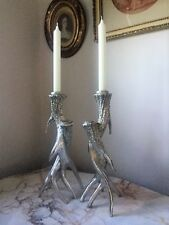 A Pair Of Silver Twist Antler Stag Horn Candlestick Candle Holders