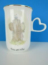 Vintage 1983 Enesco Precious Moments Mug Coffee Cup Heart Handle Thou Art Mine