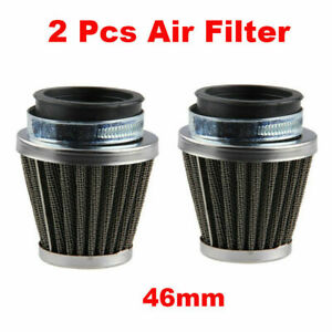 2x Motorcycle 46mm Air Filters Pod Washable ATV Universal For Harley Suzuki