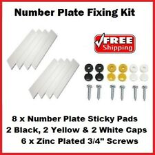 Registration Plate Fixing Kit 8 Sticky Pads 2 White,Yellow & Black Caps 6 Screws