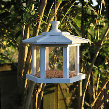 White hexagonal conservatory design hanging bird feeder FSC wood