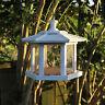 White hexagonal conservatory design hanging bird feeder FSC wood