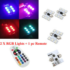 2x 31mm 6SMD  Red/Green/Blue DE3175 Interior Dome Map Light With Remote Control