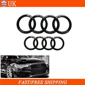 Set Black Gloss Front & Rear Grille Badge Rings Logo Emblem For Audi A3 A4 A5 A6