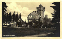 Hohe Warte Thüringer Wald Elgersburg DDR s/w Postkarte 1953 Turm und Gasthaus