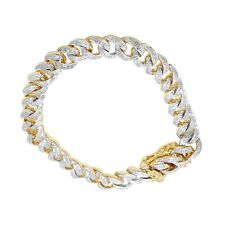 Men 14K Yellow Gold Finish Miami Cuban Diamond Link Chain Bracelet Mother's Day