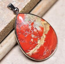 "Bloodstone Jasper Sea Sediment Quartz Natural Gemstone 1.75"" Silver Pendant #48"