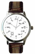 """Large """"Math Dial"""" Watch Has Math Equations With Brown Croc Design Leather Strap"""
