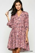 SML BLUHEAVEN by UMGEE MAUVE or NAVY DITSY Print Roll sleeves Dress/Tunic BHCS