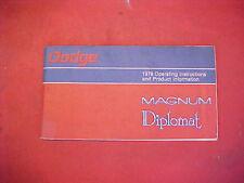 NICE MOPAR 1979 79 DODGE DIPLOMAT MAGNUM GLOVE BOX OWENERS MANUAL BOOK GUIDE