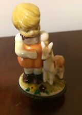 Trinket Box, young girll with deer on top, made in China