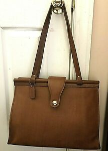 Coach Barclay British Tan Leather Doctors Bag /Laptop Tote/ Briefcase.