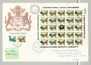Guyana 1989 10¢ Butterflies M/S of 25 Black o/p on Registered Commercial Cover