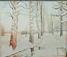 Winter landscape watercolor painting Arts & Crafts G Mueller Impressionism