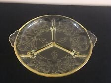 Indiana Glass Yellow HORSESHOE 3-Toed 3-Part Divided Relish Dish EUC