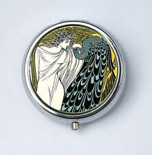 Art Nouveau Goddess and Peacock PILL CASE pillbox holder