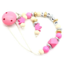 CandyPink Pacifier Clip Chain Holder Wood Silicone Beads Nipple Dummy HolderTE