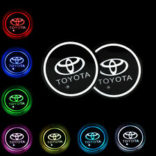 2Pcs Switchable Change 7 Colorful Led Car Cup Holder Mat Coaster Pad for Toyota