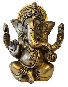 Ganesha Statue | Messing | Glücksgott Handmade Figur Hinduismus Buddha Skulptur