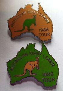 2 x 1986 AUSTRALIAN KANGAROOS TOUR RUGBY LEAGUE PINS BADGES