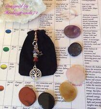 La pierre chakra cristal Palm ensemble. la guérison gemstone fixé avec charme chakra.
