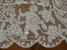 """FABULOUS Antique FIGURAL Lace Tablecloth 90"""" CHERUBS Hand Made Filet PRISTINE"""