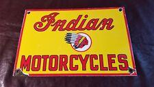 VINTAGE INDIAN MOTORCYCLES PORCELAIN GAS MOTOR OIL SERVICE STATION PUMP SIGN