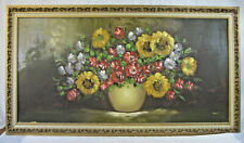 """New listing Floral Arrangement in Pot 48"""" x 24"""" Canvas Painting by Bell - 3"""" Gesso Frame"""