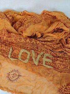 """LARGE BOHO """"LOVE"""" ORANGE GAUZE COTTON RECTANGULAR SCARF 29 X 80"""