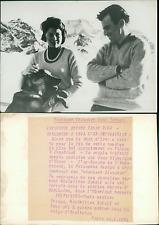 Soraya et Maximilien SChell à Adelboden, janvier 1964 Vintage silver print