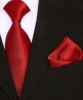 Binder de Luxe Designer Krawatte Einstecktuch Krawatten Set Tie 401 Rot 2 Tlg