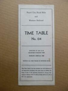1946 Rapid City Black Hills and Western Railroad Employee Time Table 134 Vintage