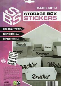 STORAGE BOX STICKERS - SCRUNCHIES/MAKEUP/BRUSHES - FREE UK POSTAGE