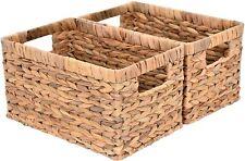 Water Hyacinth Storage Baskets Rectangular Wicker Baskets with Built-in Handles