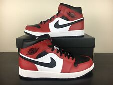 New Air Jordan 1 Mid Chicago Toe Red Black Men's Shoes [554724-069] Bred Sizes