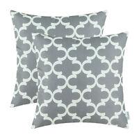 "2Pcs Grey Throw Pillows Shells Cushion Covers Case Accent Geometric Decor 18x18"""