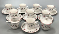 Set of 8 Farberware 391 White Christmas Tea Cups & Saucers Cream Sugar Bowl #1AA