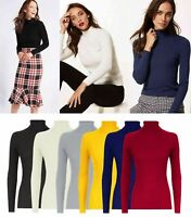 WOMEN COTTON RIBBED POLO NECK TOP JUMPER TURTLE NECK LONG SLEEVE PLAIN TOP
