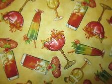 Martini Cocktail Long Island Wine Glass Fruit Yellow Cotton Fabric FQ